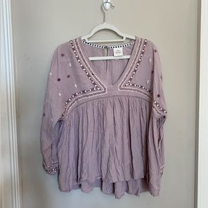 Lavender Purple Embroidered Long Sleeve Blouse